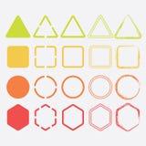 Ícones coloridos da forma em cores e em projetos diferentes ilustração do vetor