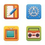 Ícones coloridos da tecnologia para a Web e a impressão ilustração do vetor