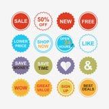 Ícones coloridos das etiquetas da atenção do retalho e da compra ajustados Imagens de Stock