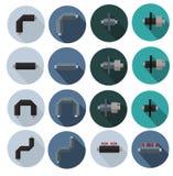 Ícones coloridos das tubulações na isolação da espuma de poliuretano para Web site, bandeiras dos cartazes fotografia de stock