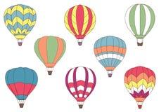 Ícones coloridos de voo do balão de ar quente Fotografia de Stock Royalty Free
