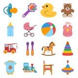 Ícones coloridos do bebê ajustados ilustração do vetor