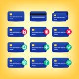 Ícones coloridos do cartão de crédito ilustração royalty free