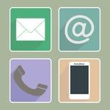 Ícones coloridos do contato Fotografia de Stock