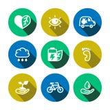 Ícones coloridos do eco liso do vetor ajustados ilustração stock