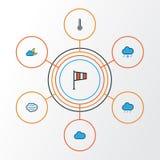 Ícones coloridos do esboço do clima ajustados Coleção do crepúsculo, da tempestade, do furacão e dos outros elementos Imagens de Stock Royalty Free