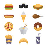 Ícones coloridos do fast food Fotos de Stock