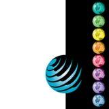 Ícones coloridos do globo do mundo Fotos de Stock Royalty Free