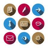 Ícones coloridos do negócio liso do vetor ajustados ilustração do vetor
