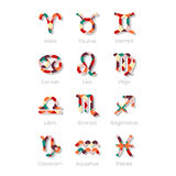 Ícones coloridos do símbolo do zodíaco isolados no branco Foto de Stock Royalty Free