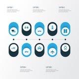 Ícones coloridos do transporte ajustados Coleção da maneira, plano Imagem de Stock