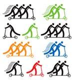Ícones coloridos do 'trotinette' do pontapé ilustração do vetor