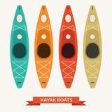 Ícones coloridos do vetor dos barcos do caiaque Fotos de Stock
