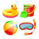 Ícones coloridos dos brinquedos da praia ajustados ilustração do vetor