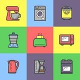 Ícones coloridos dos dispositivos de cozinha ajustados Imagens de Stock