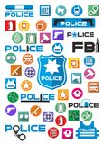 Ícones coloridos e logotipos da polícia ajustados ilustração stock