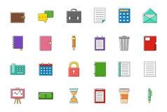 Ícones coloridos explicando do vetor ajustados Fotografia de Stock Royalty Free