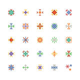 Ícones coloridos flocos de neve 2 do vetor Fotos de Stock