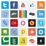 Ícones coloridos horizontalmente multi sociais da rede ilustração stock