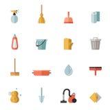 Ícones coloridos lisos de limpeza do vetor ajustados Projeto de Minimalistic Imagens de Stock Royalty Free