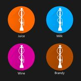 Ícones coloridos para o cachimbo de água Foto de Stock