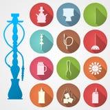Ícones coloridos para o cachimbo de água e os acessórios Imagem de Stock Royalty Free