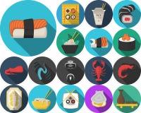 Ícones coloridos para o menu do restaurante japonês Imagens de Stock Royalty Free