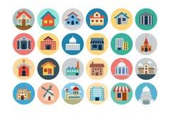 Ícones coloridos plano 1 das construções Foto de Stock