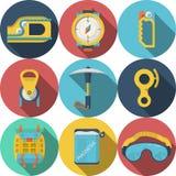 Ícones coloridos plano para a escalada Imagens de Stock