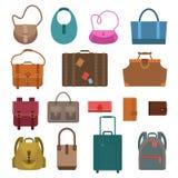 Ícones coloridos sacos ajustados Fotos de Stock Royalty Free