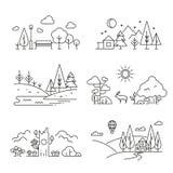 Ícones com árvore, plantas do esboço da paisagem da natureza, montanhas, rio Imagens de Stock