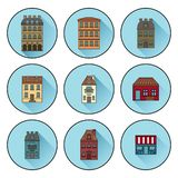 Ícones com as construções construídas em ícones lineares lisos da casa de Paris Ilustra??o do vetor ilustração stock