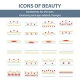 Ícones com esquema de limpar a pele ilustração stock