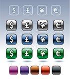 Ícones com símbolos de moeda Imagem de Stock Royalty Free