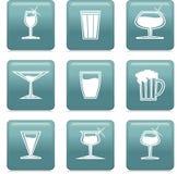 Ícones com vidro Imagem de Stock Royalty Free