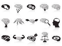 Ícones conceptuais do cérebro ajustados Foto de Stock Royalty Free