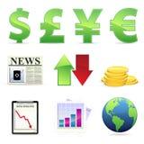 Ícones conservados em estoque financeiros Fotografia de Stock Royalty Free