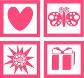 Ícones cor-de-rosa Fotos de Stock Royalty Free