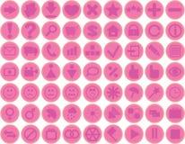 Ícones cor-de-rosa Fotografia de Stock