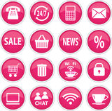 Ícones cor-de-rosa redondos Fotos de Stock Royalty Free