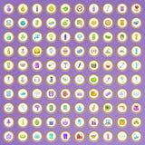 100 ícones cosméticos do salão de beleza ajustados no estilo dos desenhos animados Imagens de Stock