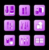 Ícones cosméticos para o projeto do Internet ilustração royalty free