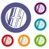 Ícones costurados redondos do botão ajustados ilustração royalty free