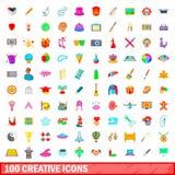 100 ícones criativos ajustados, estilo dos desenhos animados Fotos de Stock Royalty Free