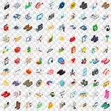 100 ícones criativos ajustados, estilo isométrico do mercado Foto de Stock