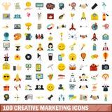 100 ícones criativos ajustados, estilo liso do mercado Imagem de Stock Royalty Free