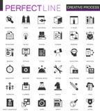 Ícones criativos clássicos pretos da Web do processo ajustados Foto de Stock Royalty Free