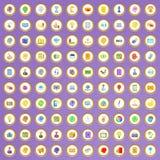 100 ícones criativos do mercado ajustados no estilo dos desenhos animados Fotos de Stock