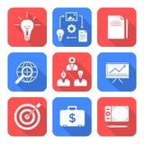 Ícones criativos do processo de negócios do estilo liso branco contínuo da cor ajustados Fotos de Stock