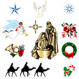 Ícones cristãos do Natal Fotos de Stock Royalty Free
